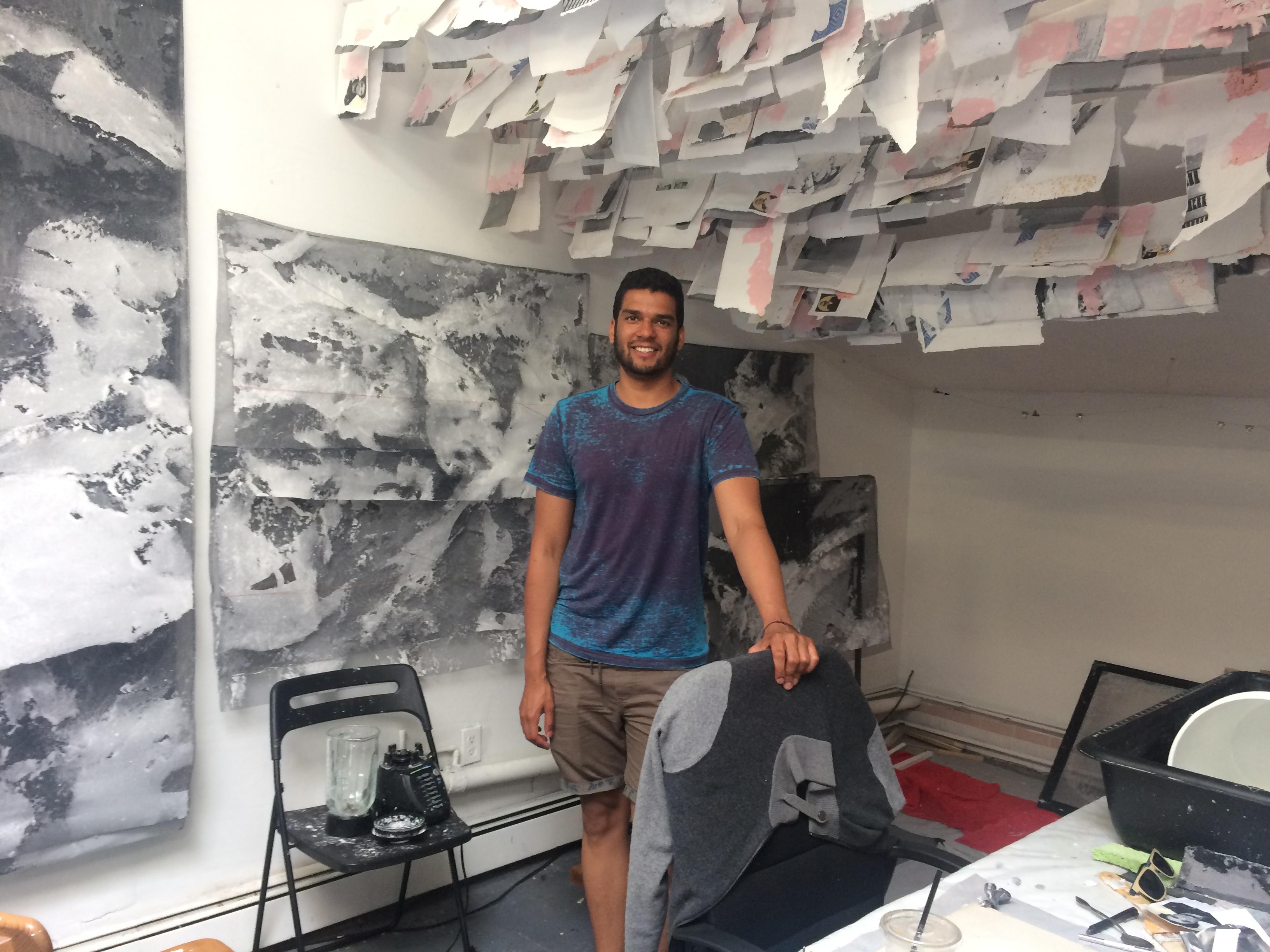 Tahir Karmali in his studio at Trestle Gallery, Brooklyn, June 2017